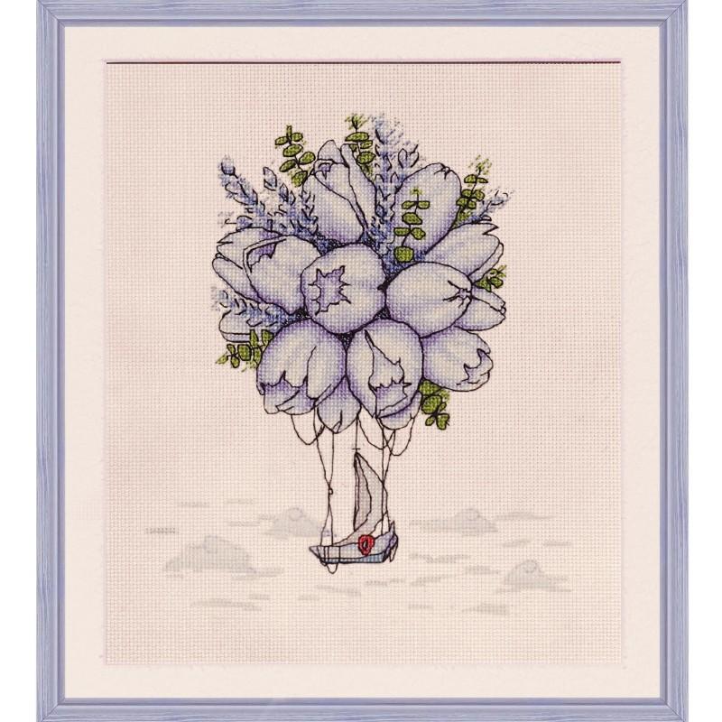 """Набір для вишивки нитками на канві з фоновим зображенням """"Блакитні тюльпани"""""""