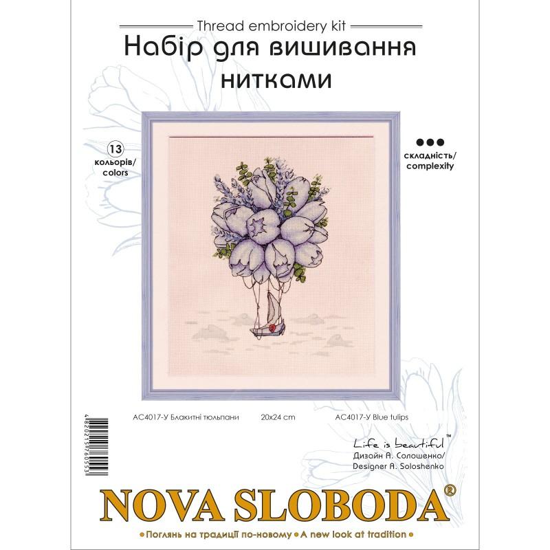 """Nova Sloboda - Набір для вишивки нитками на канві з фоновим зображенням """"Блакитні тюльпани"""" / фото №3564"""