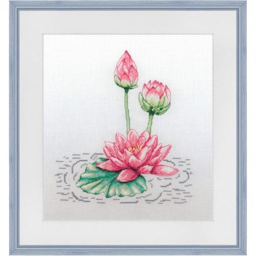 """Набір для вишивки нитками на канві з фоновим зображенням """"Краса озер"""""""