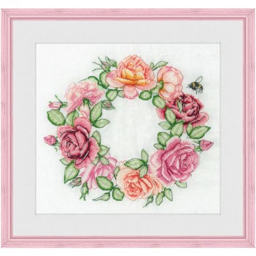 """Набор для вышивки нитками на белой канве """"Розы"""""""