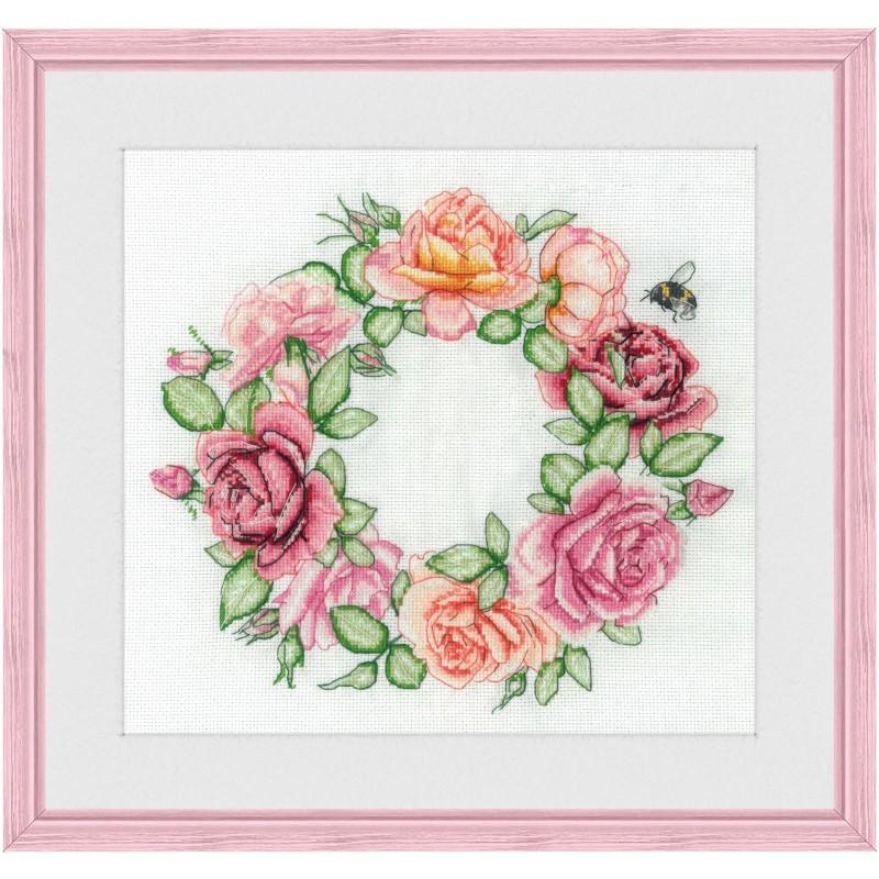 """Набір для вишивки нитками на білій канві """"Троянди"""""""