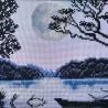 """Набір для вишивки нитками на канві з фоновим зображенням """"Місячна ніч"""""""