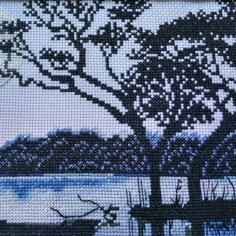 """Nova Sloboda - Набір для вишивки нитками на канві з фоновим зображенням """"Місячна ніч"""" / фото №3593"""