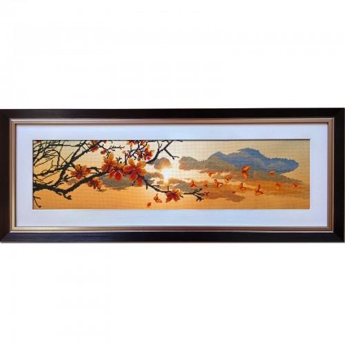 """Набір для вишивки нитками на канві з фоновим зображенням """"Весняний закат"""""""