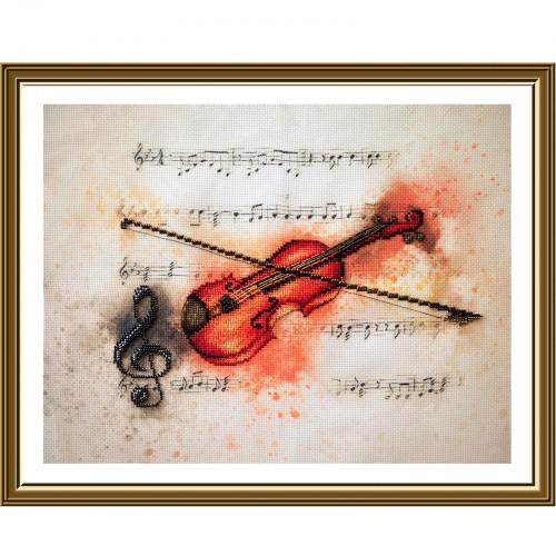"""Набор для вышивки нитками и бисером на канве с фоновым изображением """"Скрипка"""""""