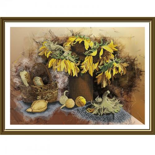 """Набір для вишивки нитками на канві з фоновим зображенням """"Соняшники"""""""