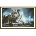 """Набор для вышивки нитками на канве с фоновым изображением """"Амурский тигр"""""""