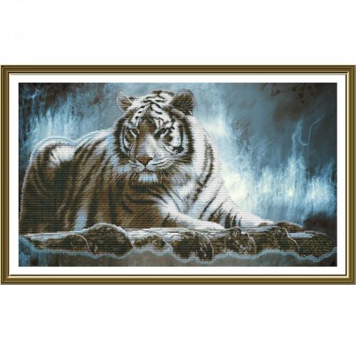 """Набір для вишивки нитками на канві з фоновим зображенням """"Амурський тигр"""""""