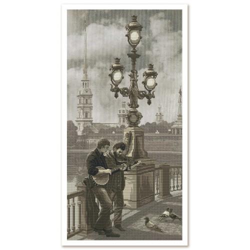 """Набір для вишивки нитками на канві з фоновим зображенням """"Санкт-Петербург. Петропавлівська набережна"""""""