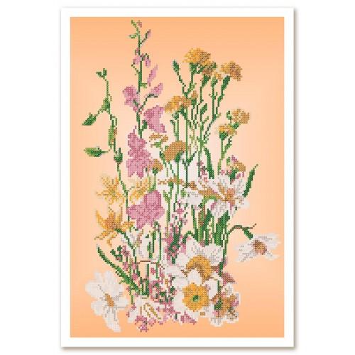 """Ткань со схемой для вышивки бисером """"Полевые цветы"""""""