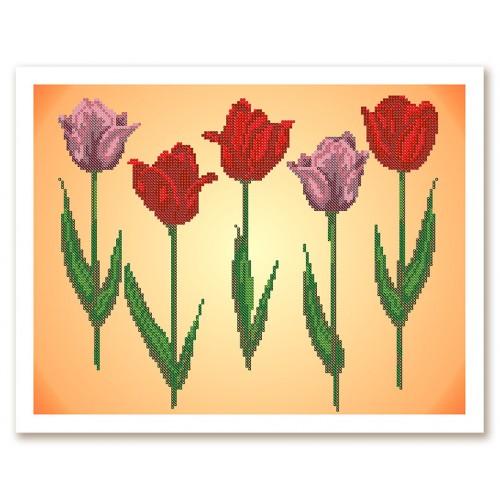 """Ткань со схемой для вышивки бисером """"Тюльпаны"""""""