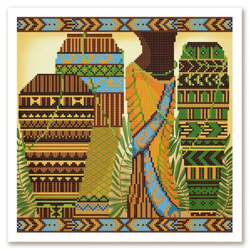 """Ткань со схемой для вышивки бисером """"Африканские ритмы"""""""