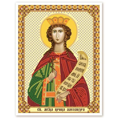 """Ткань со схемой для вышивки иконы бисером """"Св. Мц. Царица Александра Римская"""""""