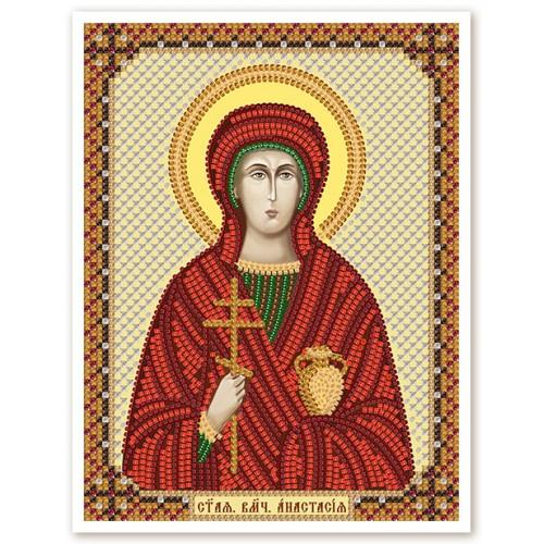 """Ткань со схемой для вышивки иконы бисером """"Св. Вмц. Анастасия"""""""