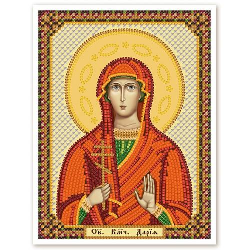 """Ткань со схемой для вышивки иконы бисером """"Св. Мц. Дарья"""""""