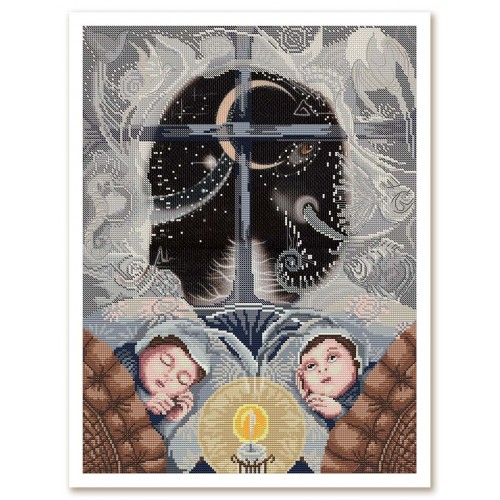 """Набор для вышивки нитками и бисером на канве с нанесенным фоновым изображением """"Сон как слон"""""""
