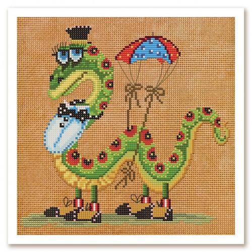 """Набор для вышивки нитками и бисером на канве с нанесенным фоновым изображением """"Змейка"""""""