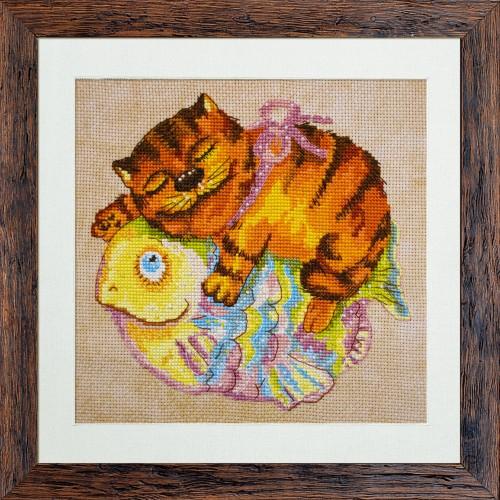 """Набор для вышивки нитками и бисером на канве с нанесенным фоновым изображением """"Муркин сон"""""""