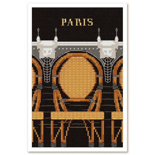 """Набір для вишивки нитками та бісером """"Париж в ілюстраціях. Новий міст"""""""
