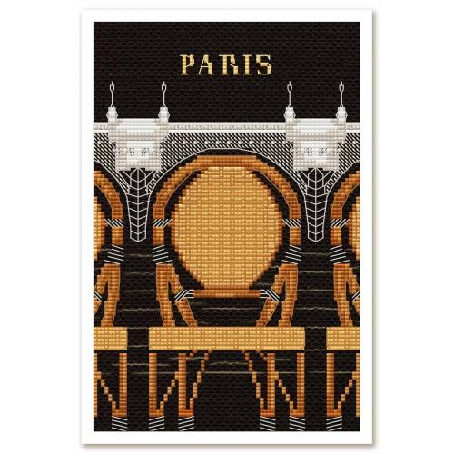 """Набор для вышивки нитками и бисером на канве с нанесенным фоновым изображением """"Париж в иллюстрациях. Новый мост"""""""