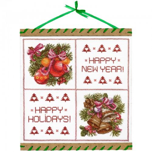 """Набор для вышивки нитками на белой канве """"Новогодние краски"""""""