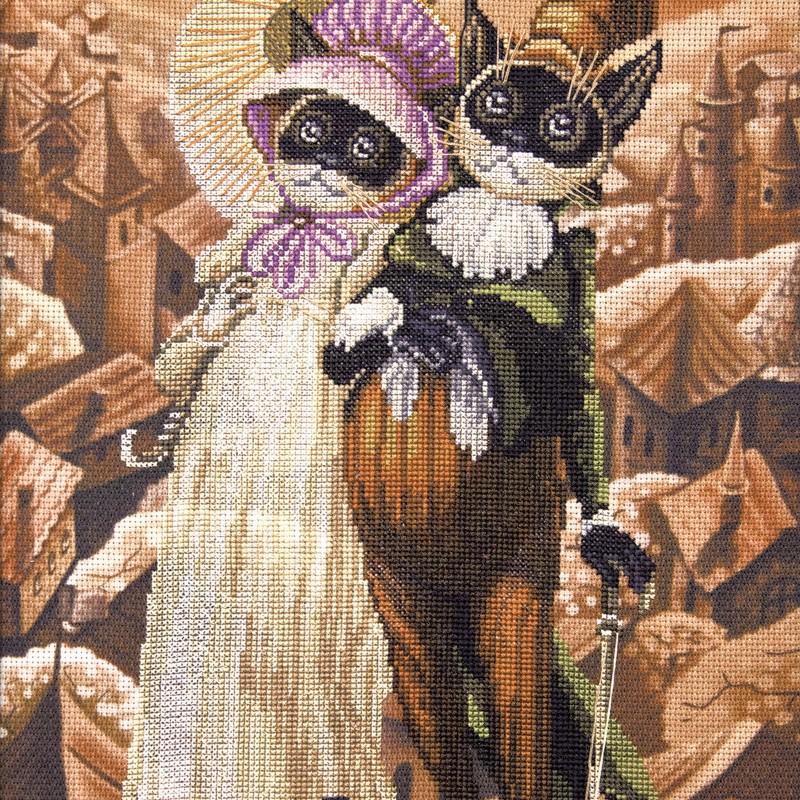 """Nova Sloboda - Набір для вишивки нитками на канві з фоновим зображенням """"Щасливі разом"""" / фото №385"""