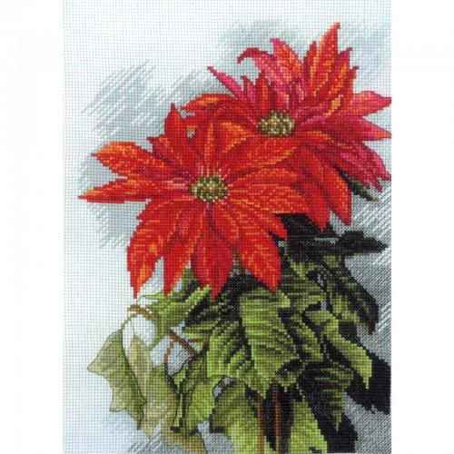 """Набор для вышивки нитками на канве с фоновым изображением """"Рождественская звезда"""""""