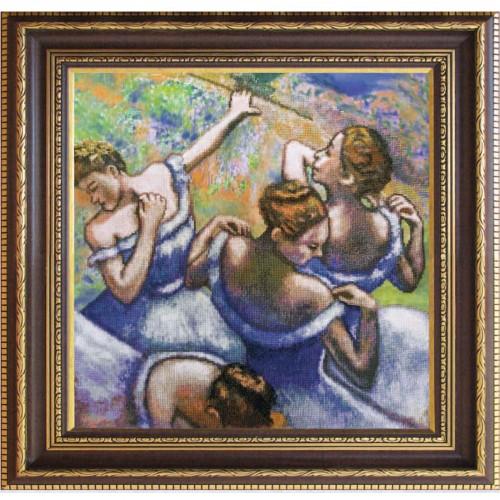"""Набор для вышивки нитками на канве с фоновым изображением """"Голубые танцовщицы"""""""