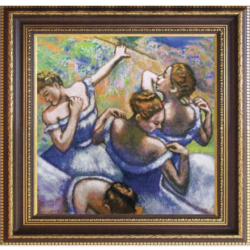 """Набір для вишивки нитками на канві з фоновим зображенням """"Блакитні танцівниці"""""""