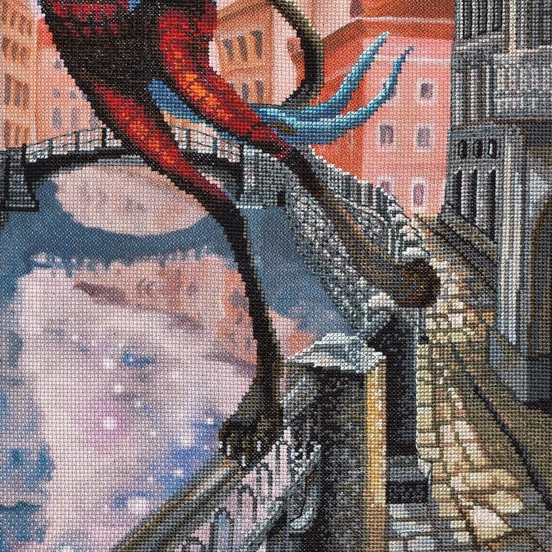 """Nova Sloboda - Набір для вишивки нитками на канві з фоновим зображенням """"Місяць на змичку"""" / фото №389"""
