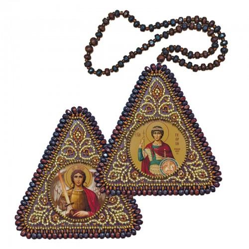 """Набір для вишивання двусторонньої ікони """"Св. Вмч. Георгій Переможець та Архангел Михаїл"""""""