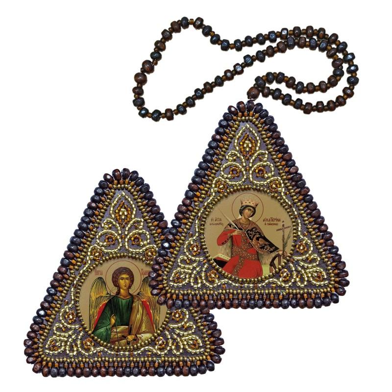 """Nova Sloboda - Набір для вишивання двусторонньої ікони """"Св. Мц. Катерина та Ангел Хранитель"""" / фото №3923"""