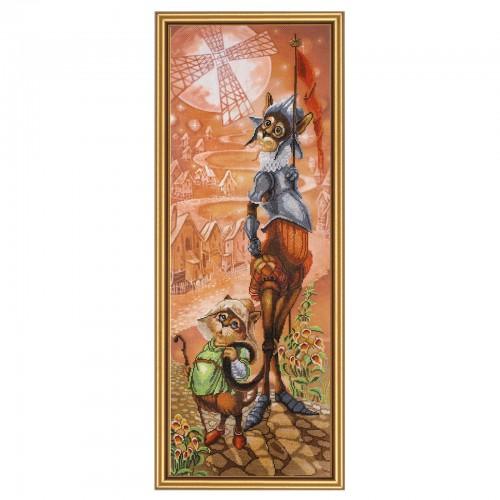 """Набор для вышивки нитками на канве с фоновым изображением """"Дон Ки Кот и Санчо"""""""