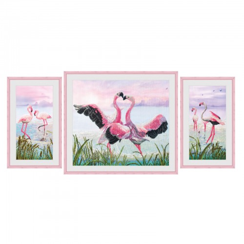 """Набір для вишивки нитками на канві з фоновим зображенням """"Танок фламинго"""""""
