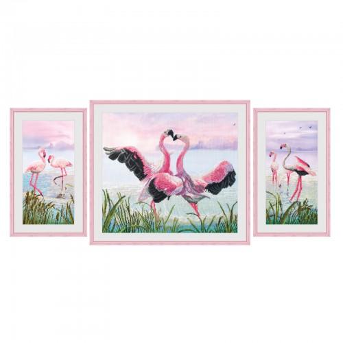 """Набор для вышивки нитками на канве с фоновым изображением """"Танец фламинго"""""""