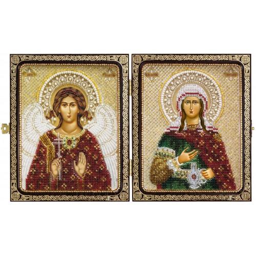 """Набор для вышивки иконы в рамке-складне """"Св.Прп.Светлана (Фотина) и Ангел Хранитель"""""""