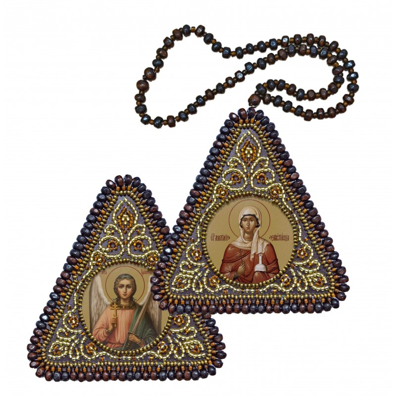 """Набір для вишивання двусторонньої ікони """"Св. Вмц. Анастасія Узорішительниця та Ангел Хранитель"""""""