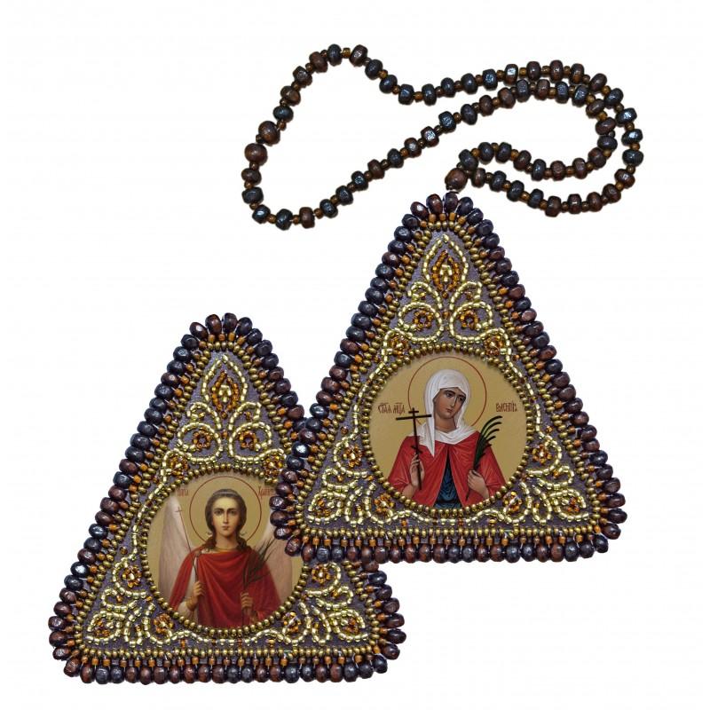"""Набір для вишивання двусторонньої ікони """"Св. Вмц. Валентина та Ангел Хранитель"""""""