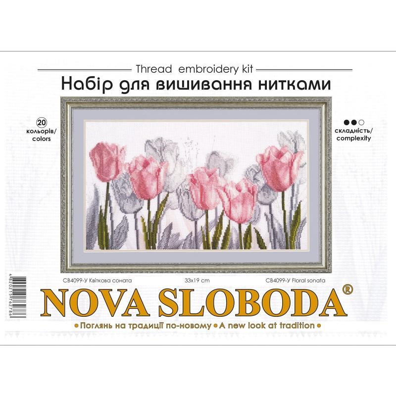 """Nova Sloboda - Набір для вишивки нитками на канві з фоновим зображенням """"Квіткова соната"""" / фото №4171"""