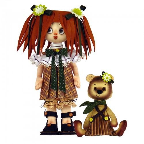 """Набір для шиття ляльки та м'якої іграшки """"Дівчинка в ведмедиком"""""""