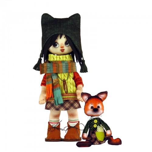 """Набір для шиття ляльки та м'якої іграшки """"Дівчинка з лисеням"""""""