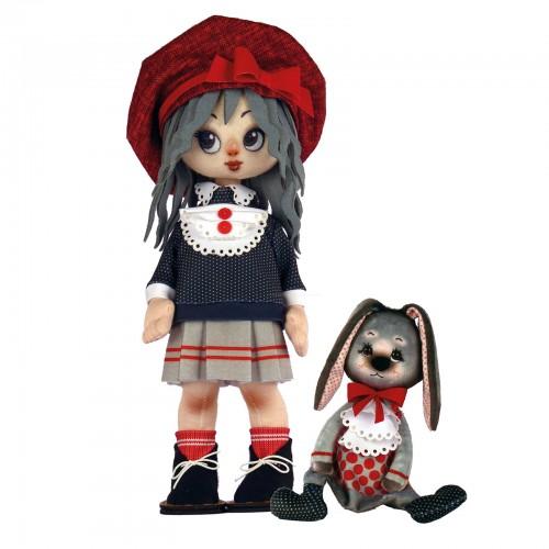 """Набір для шиття ляльки та м'якої іграшки """"Дівчинка з зайчиком"""""""