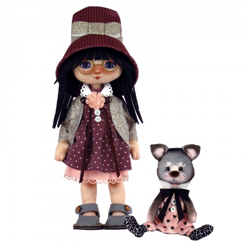 """Набір для шиття ляльки та м'якої іграшки """"Дівчинка з котиком"""""""