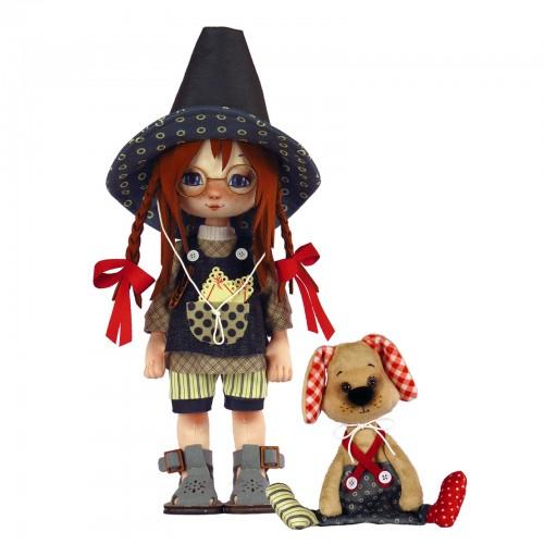 """Набір для шиття ляльки та м'якої іграшки """"Дівчинка з песиком"""""""