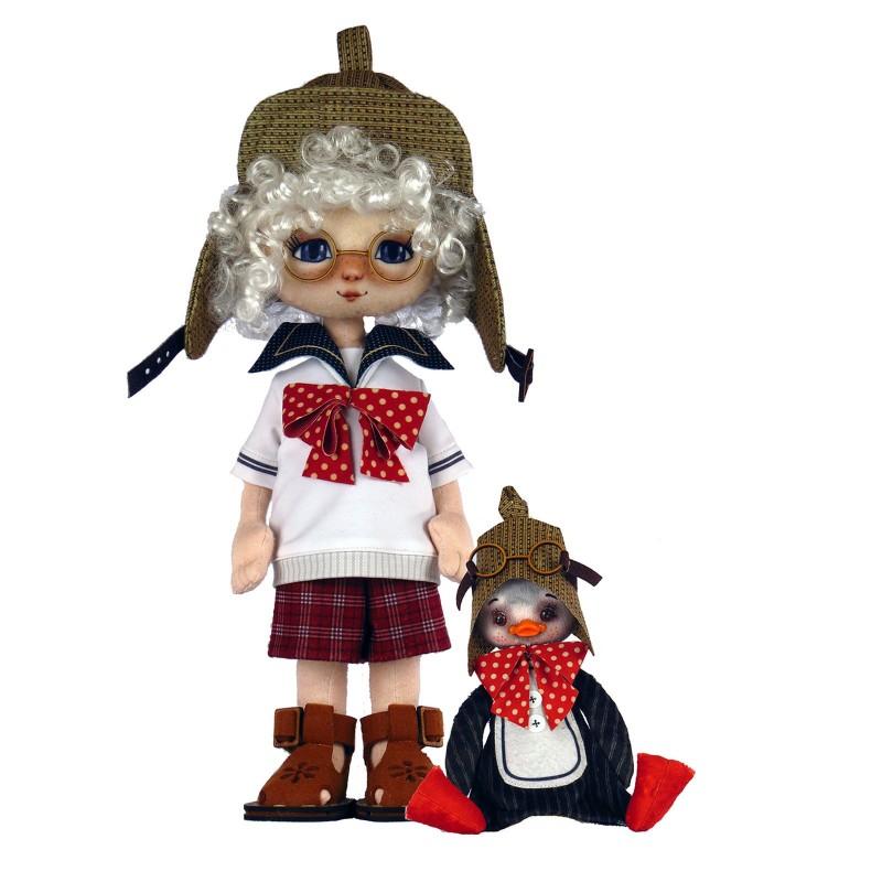 """Nova Sloboda - Набор для шитья куклы и мягкой игрушки """"Мальчик с пингвином"""" / фото №4223"""