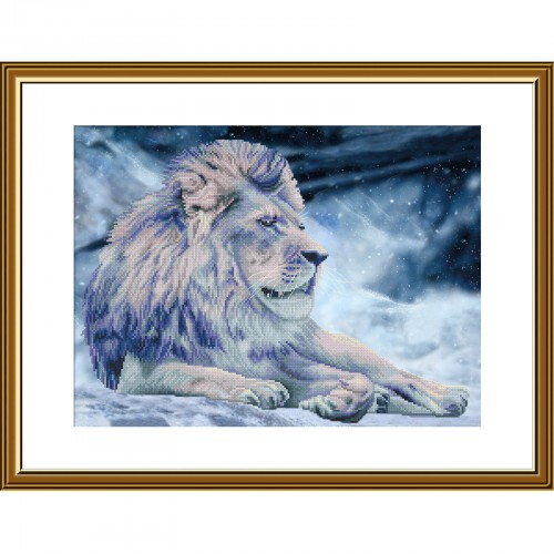 """Набір для вишивки нитками на канві з фоновим зображенням """"Король Лев"""""""