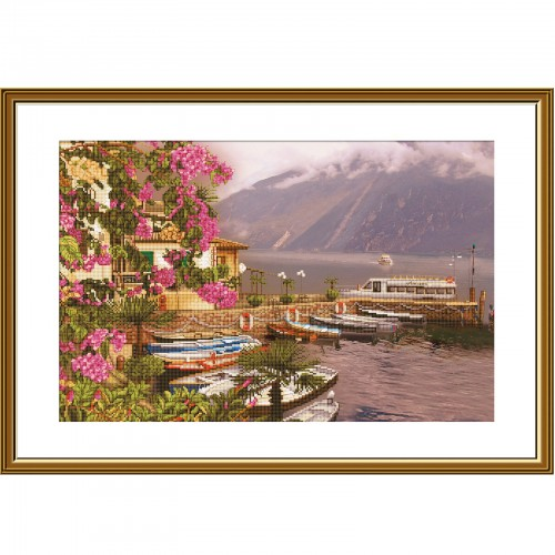 """Набір для вишивки нитками на канві з фоновим зображенням """"Озеро Гарда"""""""