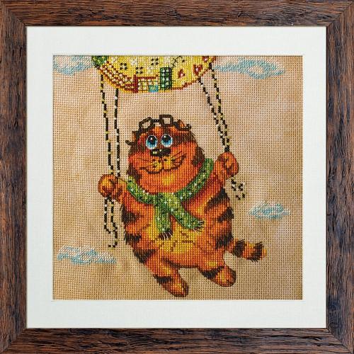 """Набор для вышивки нитками и бисером на канве с нанесенным фоновым изображением """"На воздушном шаре"""""""