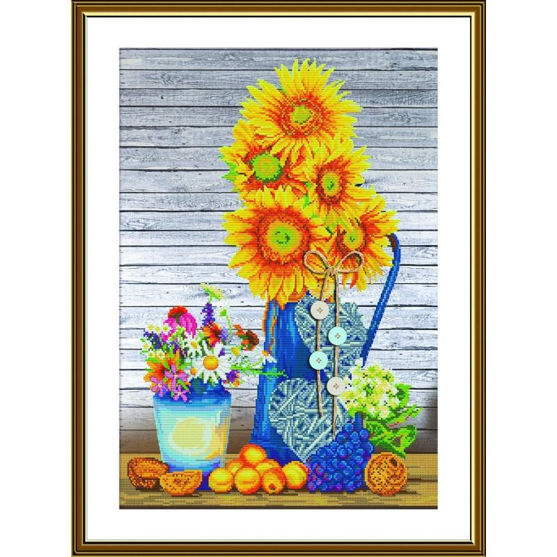 "Nova Sloboda - Набор для вышивки нитками на канве с фоновым изображением ""Солнце в вазе"" / фото №4553"