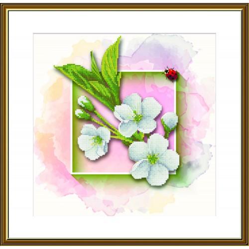"""Набір для вишивки нитками на канві з фоновим зображенням """"Фруктовий сад. яблуня"""""""